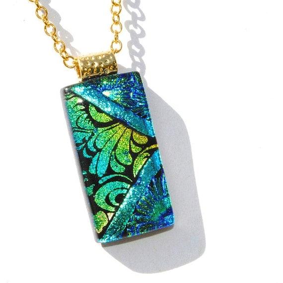 Fleur De Lis, Dichroic Glass Pendant, Fused Glass Jewelry, Contemporary, French, Unique, Floral, Garden, Blue Gold Green Teal (Item 10456-P)