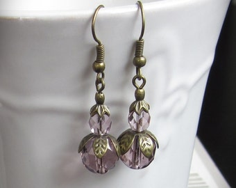 Pale Lavender Drop Earrings, Victorian inspired, faceted glass beads with antiqued brass