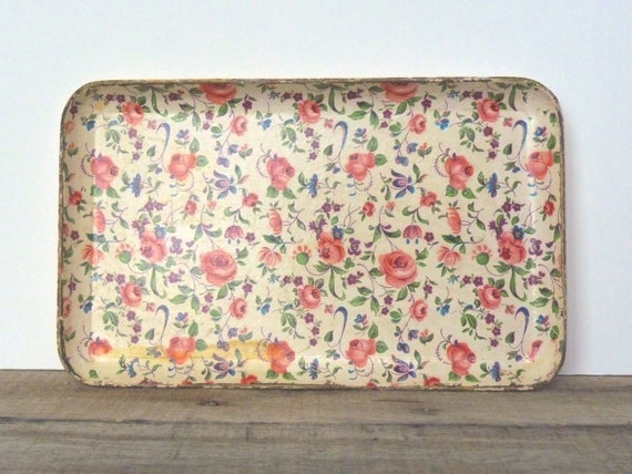 Vintage Small Floral Paper Mache Tray