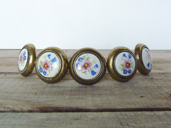 Vintage Brass and Porcelain / Ceramic Floral Drawer Knobs / Pulls - Set of 5