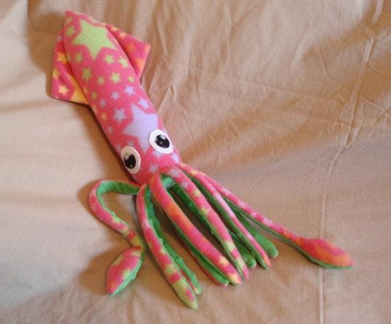 Barbarella the Pink Star Spangled Fleece Squid Stuffed Animal