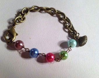 Brass Bracelet Pearl Bracelet Multi Color Bracelet Pearl Jewelry Chain Jewellery Glass Pearls Double Chain Unique Everyday Fashion Gift
