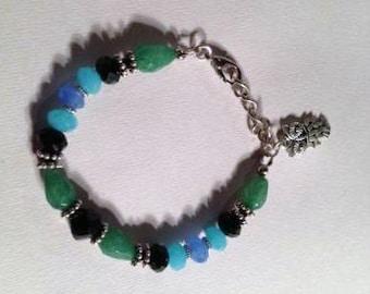 Crystal Bracelet - Owl Charm Jewellery - Mod - Funky - Chain Jewelry - Beaded - Black Green Blue Aqua - Silver Handmade Unique Gift