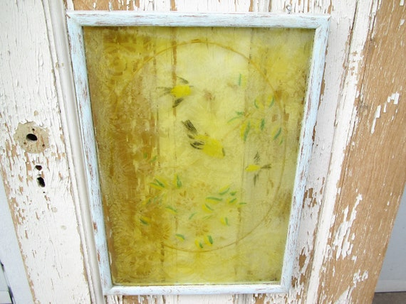 Vintage window hanging....cottage chic....yellow birds...blue.....