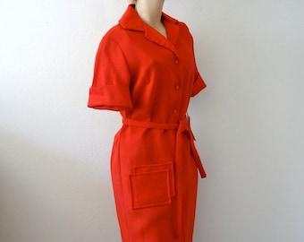 1960s Day Dress / 60s Red Shift Dress / Vintage NOS