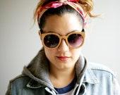 Wood Veneer Sunglasses Cherry Oversize Round //  The Original Handcrafted Wood Veneer