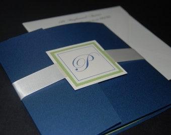 Blue and green wedding invitation, blue pocketfold, monogram pocketfold, custom colors, custom sample