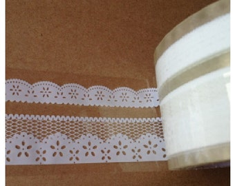 White Lace Transparent Deco Tape Sticker Tape TD011