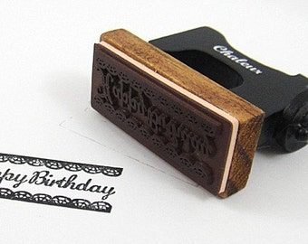Wooden Rubber Stamp - Vintage Style - Sewing Machine Stamp  - Happy Birthday