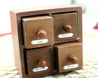 Wooden Rubber Stamp - Vintage Style -Square Drawer