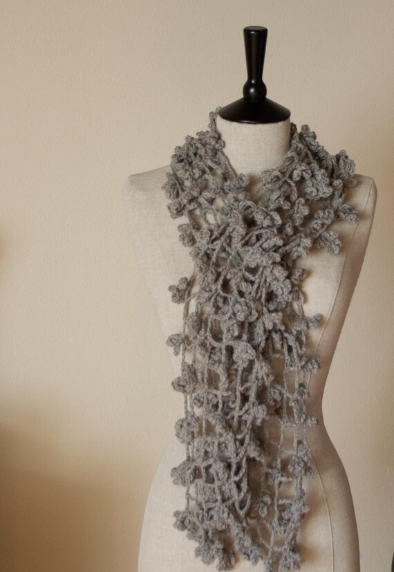 CROCHET PATTERN instant download - Scarf Shade of Spider - easy beginner grey gray large flower lace shawl