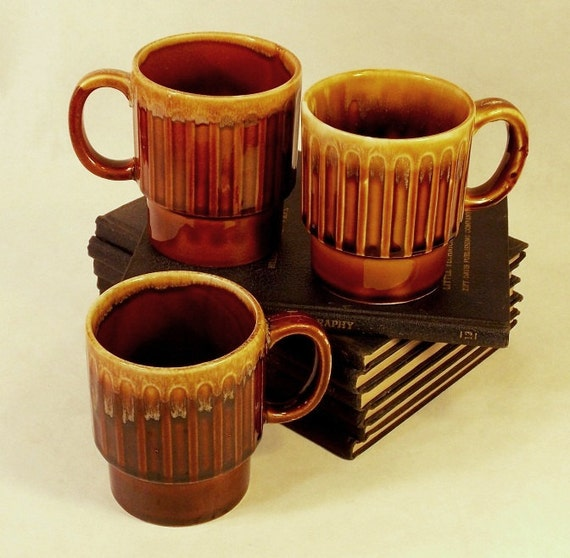 Carmel Brown Coffee Mugs Coffee Cups Stacking Design Circa