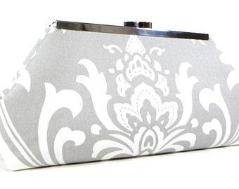 Clutch Purse - Grey and White Damask Clutch Bag, Wedding Clutch, Bridal Clutch, Bridesmaid Clutch