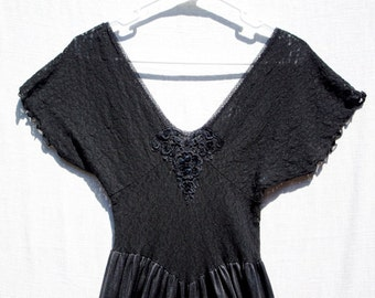 Gorgeous 1970s Vintage Black Lace Gown with Floral Embellishment