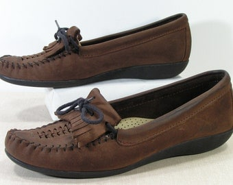moccasins shoes womens 7.5 m b brown granny loafers leather baggies huaraches