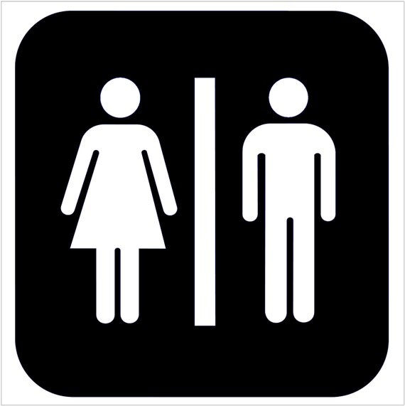 Items Similar To Restroom Bathroom Door Sign Vinyl Decal Unisex Your Choice Of Color On Etsy
