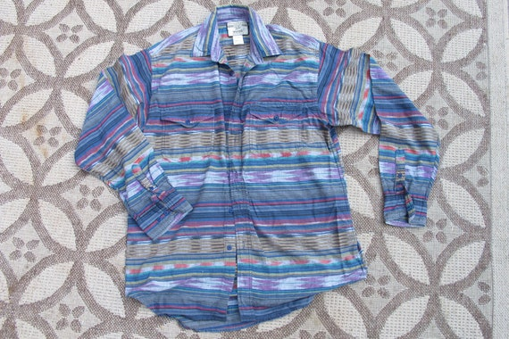 vintage Wrangler Ikat button down shirt - made in india - cotton madras