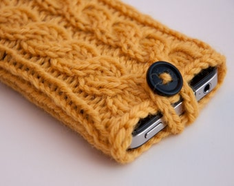 Sunny Day Yellow Double Cable Knit Phone Case (iPhone 3/4/4S/5/5S/5C/6/6+/7/7+)