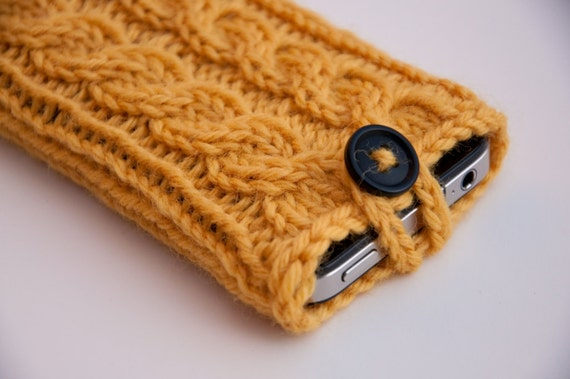 Sunny Day Yellow Double Cable Knit Phone Case (iPhone 3/4/4S/5/5S/5C/6/6+; Samsung S3/S4/S5)