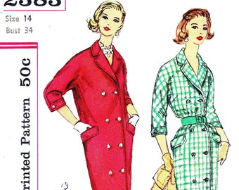 1950s Bust 34 Misses Dress with Button Down Double Breasted Detail Housecoat or Coat Day c 1959 Simplicity 2383 50s