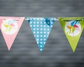 Instant Download - Printable Pinwheel, Polka Dots, and Chevron Bunting Banner Flags - Featured on Hostess with the Mostess