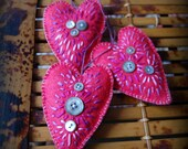 HALF OFF SALE wool felt with vintage buttons heart ornaments