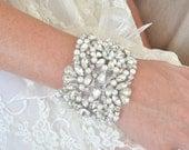 Brida pearl crystal cuff bracelet, crystal pearl bridal cuff, wedding cuff bracelet, pearl bridal bracelet, crystal pearl cuff - KATE