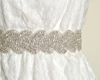 "Wedding belt, 2"" wide bridal crystal sash, vintage inspired bridal belt - Ready to ship - BEATRICE"