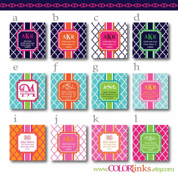 preppy square quatrefoil address labels (set of 40 stickers)