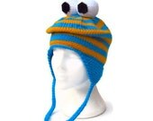 Knitted monster hat striped earflap ski hat snowboarding funky blue and yellow beanie with eyeballs