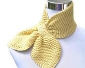 Cream scarf ascot bow tie cotton scarf necktie neckwarmer hand knit scarf in buttermilk cotton kapok