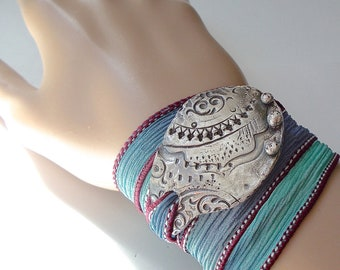 Handmade Silver Silk Wrap Ribbon Bracelet Yoga Jewelry . Modern Tribal . Bohemian Hand Dyed Silk Ribbon