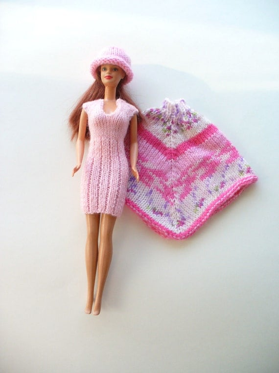 Knit Barbie pink dress and cap and a varigated poncho