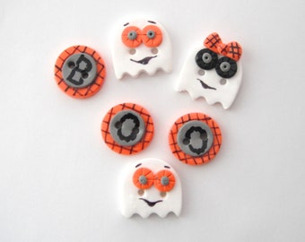 Button Boo ghostly handmade polymer clay buttons ( 6 )