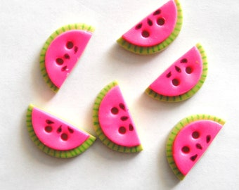 Small Watermelon Slices handmade polymer clay buttons ( 6 )
