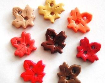 Tiny Fall Leaves facebook special handmade polymer clay buttons ( 8 )