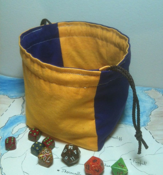 Dice Bag Quartered in Purple and Gold