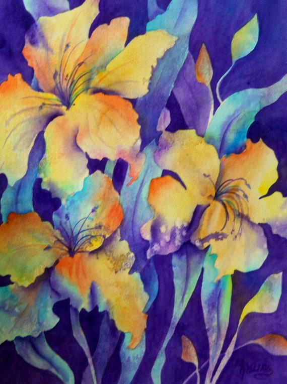 Watercolor of Yellow, Purple and Blue Floral - Original Painting by Martha Kisling