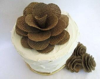 Burlap Flowers Wedding Cake Topper - Rustic Wedding Cake Decoration, Burlap Wedding Decoration, Shabby Chic Wedding Decor, Vintage Wedding