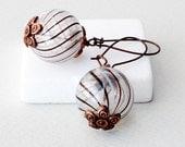 Earrings - Hollow Glass and Copper Earrings