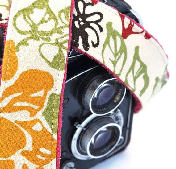 Camera Strap - Retro Floral Print Crimson Minky - Digital Camera Accessories for Canon / Nikon SLR / dSLR Cameras