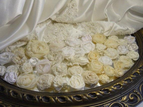 Bulk Flowers, Lot of 45 handmade flowers of ivory fabrics and lace.