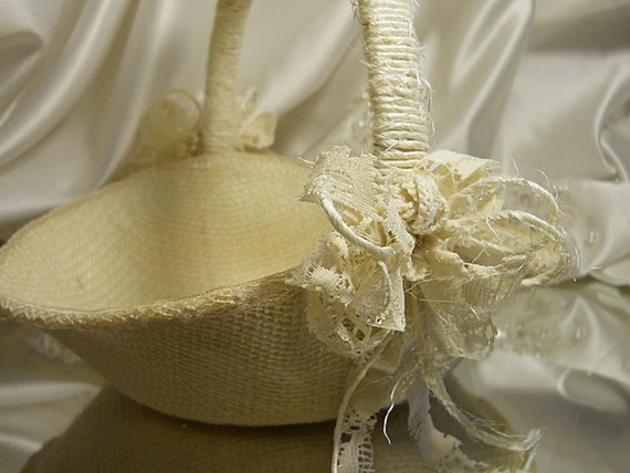 Reserved for Holly, Burlap Bridal Flower Girl Wedding Basket & Pillow handmade of burlap and embellished with twine and lace.