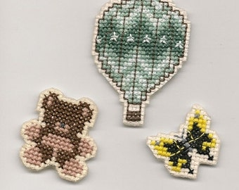 Cross Stitch, Hot Air Balloon, Teddy Bear and Butterfly Magnets Finished Completed