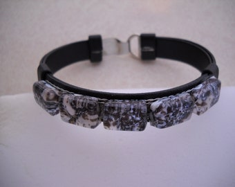 Fused glass and leather bangle bracelet