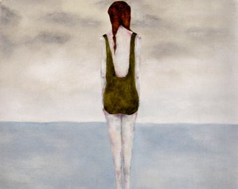 Figure art in ocean. woman in the sea. contemporary wall art