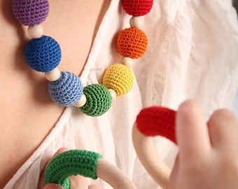 Nordic Rainbow Nursing / Babywearing /Teething necklace
