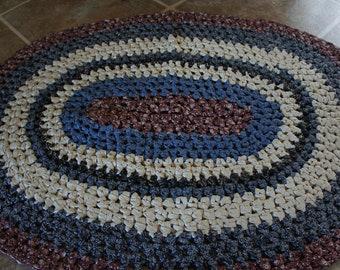 Crocheted Fabric Oval Rag Rug