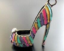 Huge High Heel Shoe Charm Antique  Silver Tone Stilettos 3D - SC1540