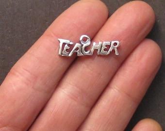 8 Teacher Charms Antique  Silver Tone - SC1414